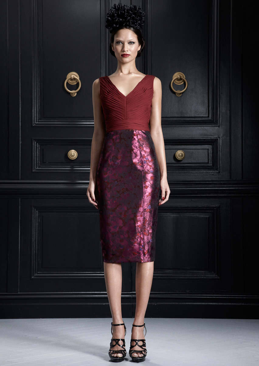 Jason Wu PF12 burgundy metallic pencil skirt on Exshoesme.com