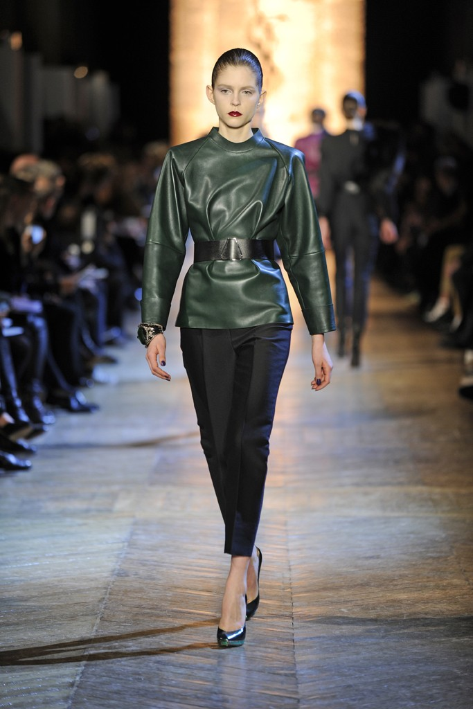 YSL FW12 Green Leather Tunic Green Heels and Black Capris on Exshoesmecom