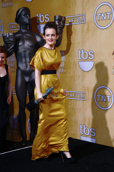 Sophie McShera in yellow gown at the 2013 SAG Awards on Exshoesme.com