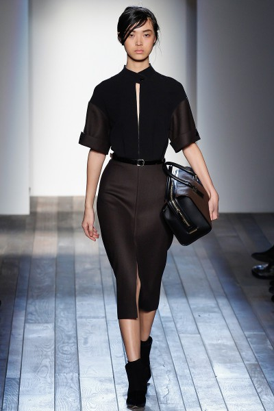 Victoria Beckham FW13 brown and black day dress on Exshoesme.com