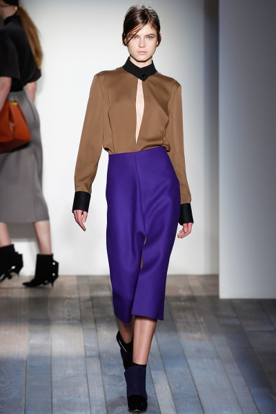 Victoria Beckham FW13 purple skirt and camel blouse on Exshoesme.com
