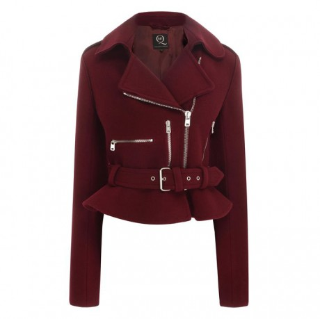 McQ PF13 Burgundy Felt Biker Jacket on Exshoesme.com