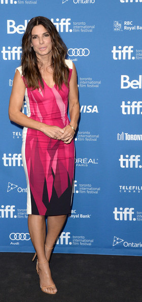 Sandra Bullock in Roland Mouret at the press conference for Gravity at the 2013 Toronto International Film Festival #TIFF13 on Exshoesme.com. Jason Merritt photo