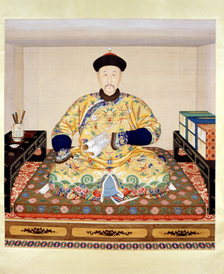 Portrait of Emperor Yongzheng in his study, Qing dynasty from The Forbidden City Exhibition at the Royal Ontario Museum. Palace Museum image.